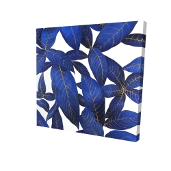 Canvas 24 x 24 - 3D - Abstract modern blue leaves