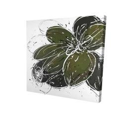 Green flower with splash outline