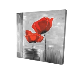 Canvas 24 x 24 - 3D - Two red flowers on a grayscale background