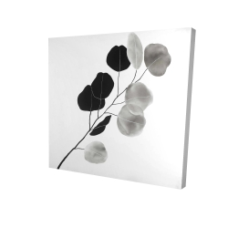 Canvas 24 x 24 - 3D - Grayscale branch with round shape leaves