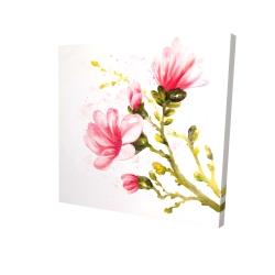 Canvas 24 x 24 - 3D - Watercolor magnolia flowers