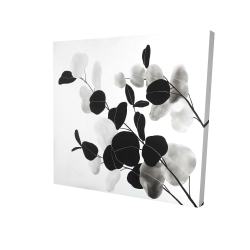 Canvas 24 x 24 - 3D - Grayscale branches with leaves
