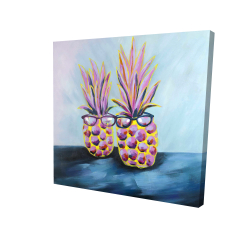 Canvas 24 x 24 - 3D - Funny pineapples with sunglasses