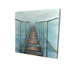 Canvas 24 x 24 - 3D - Old and dangerous bridge