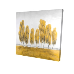 Canvas 24 x 24 - 3D - Seven abstract yellow trees