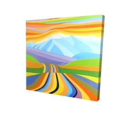 Canvas 24 x 24 - 3D - Mountain road multicolored
