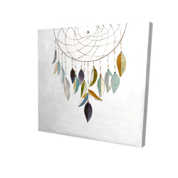 Canvas 24 x 24 - 3D - Dreamcatcher with feathers