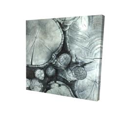 Canvas 24 x 24 - 3D - Textured wooden logs