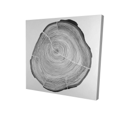 Canvas 24 x 24 - 3D - Grayscale wood log