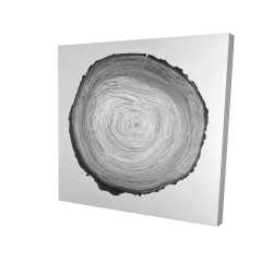 Canvas 24 x 24 - 3D - Grayscale round wood log