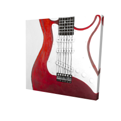 Canvas 24 x 24 - 3D - Red electric guitar