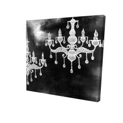 Canvas 24 x 24 - 3D - White chandeliers