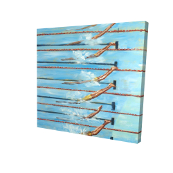 Canvas 24 x 24 - 3D - Olympic swimmers