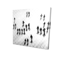 Canvas 24 x 24 - 3D - Overhead view of people on the street