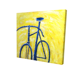 Canvas 24 x 24 - 3D - Blue bike on yellow background