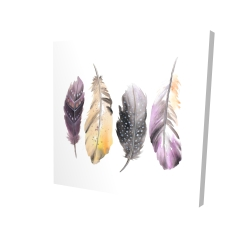 Canvas 24 x 24 - 3D - Colorful feather set