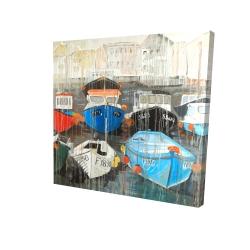 Canvas 24 x 24 - 3D - Color fading rain at the port