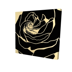 Canvas 24 x 24 - 3D - Cutout black rose
