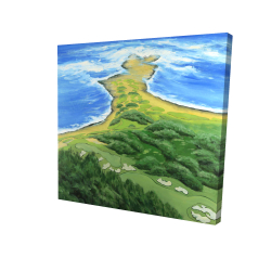 Canvas 24 x 24 - 3D - Island overhead view with waves