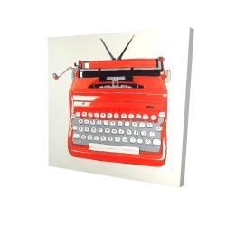 Canvas 24 x 24 - 3D - Red typewritter machine