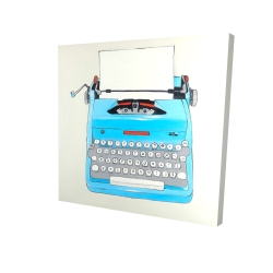 Canvas 24 x 24 - 3D - Blue typewritter machine