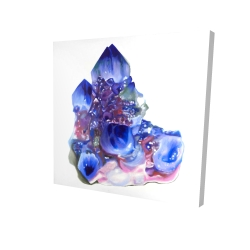 Canvas 24 x 24 - 3D - Blue and purple quartz cristal