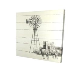 Canvas 24 x 24 - 3D - Vintage old texas windmill
