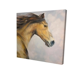 Canvas 24 x 24 - 3D - Proud steed with his mane in the wind