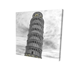 Canvas 24 x 24 - 3D - Outline of tower of pisa in italy