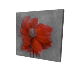 Canvas 24 x 24 - 3D - Red flower in the wind