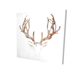 Canvas 48 x 48 - 3D - Wood looking deer head
