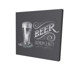 Canvas 36 x 36 - 3D - Vintage beer signboard