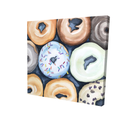 Canvas 24 x 24 - 3D - Watercolor doughtnuts with icing