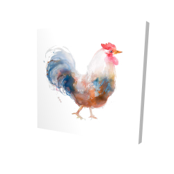 Canvas 24 x 24 - 3D - Watercolor rooster
