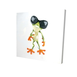 Canvas 24 x 24 - 3D - Funny frog with sunglasses