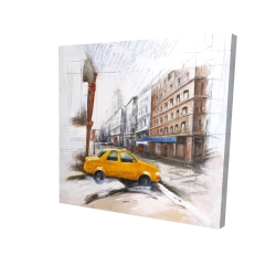 Canvas 24 x 24 - 3D - Taxi in the street sketch