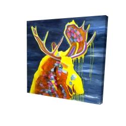 Canvas 24 x 24 - 3D - Colorful moose