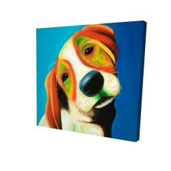 Canvas 24 x 24 - 3D - Colorful beagle dog