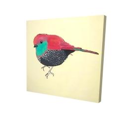 Canvas 24 x 24 - 3D - Little purple bird illustration