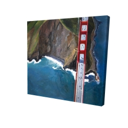 Canvas 24 x 24 - 3D - Overhead view of the golden gate and mountains