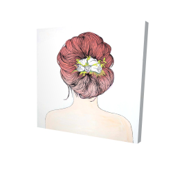 Canvas 24 x 24 - 3D - Lady with flowers in her hair