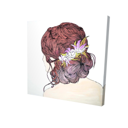 Canvas 24 x 24 - 3D - Woman from behind with flowers