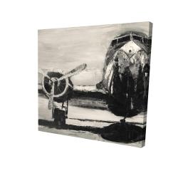 Canvas 24 x 24 - 3D - Sepia airplane