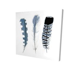 Canvas 24 x 24 - 3D - Delicate blue feathers