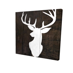 Canvas 24 x 24 - 3D - Silhouette of a deer on wood