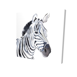 Canvas 24 x 24 - 3D - Watercolor zebra