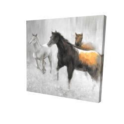 Canvas 24 x 24 - 3D - Abstract herd of horses