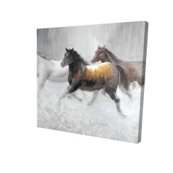 Canvas 24 x 24 - 3D - Herd of wild horses