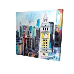 Canvas 24 x 24 - 3D - Colorful cityscape of manhattan