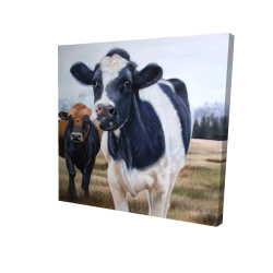 Canvas 24 x 24 - 3D - Two cows eating grass